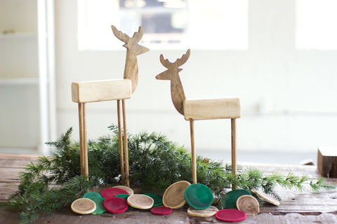 Set of Two Wooden Reindeer