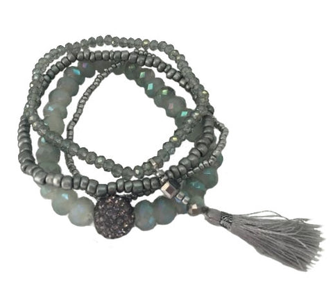 4 row seafoam and gray beaded bracelet