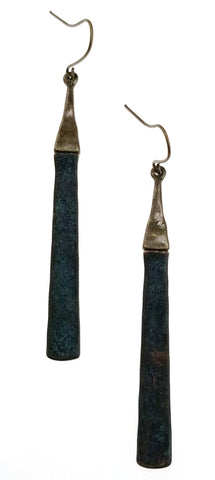 Antique bronze earrings with oxidized bar