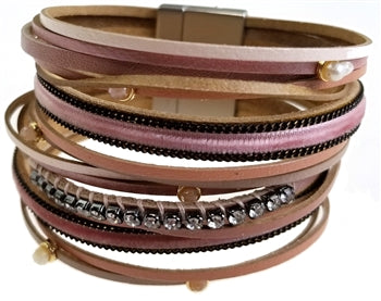 Dusty Rose and Pink Leather Bracelet