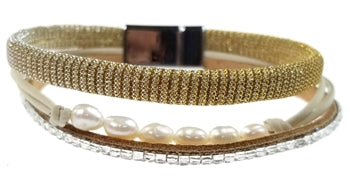 Gold Mesh Bracelet with Freshwater Pearls and Crystals