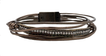 Bronze Leather Curved With Curved Crystal Bar
