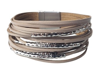 Taupe Leather Bracelet with Hammered Tubes
