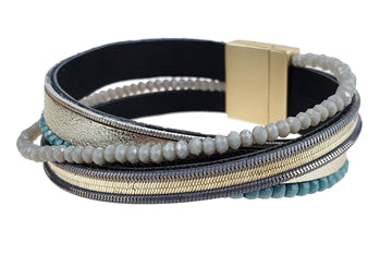 Gold Leather Bracelet with Grey and Blue Beads