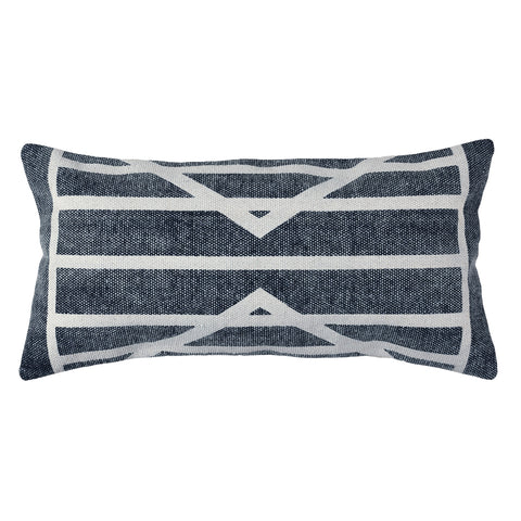 block print centerpointe stripe lumbar pillow