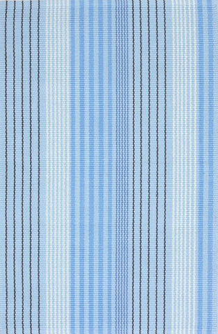 Cotton Blue Sky Ticking Rug (2' x 3')
