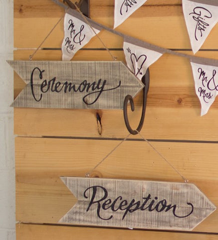 wood and jute wedding signs ceremony receptions