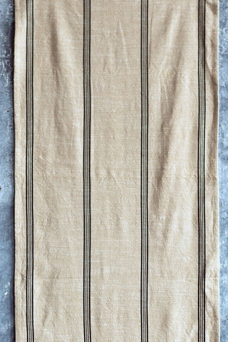 Black striped cotton table runner