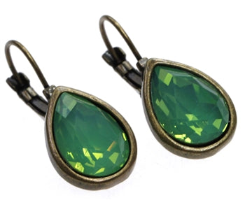 Antique Bronze Earrings with Pacific Opal Tear