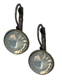 Round Antique Bronze Earrings with Milky Opal