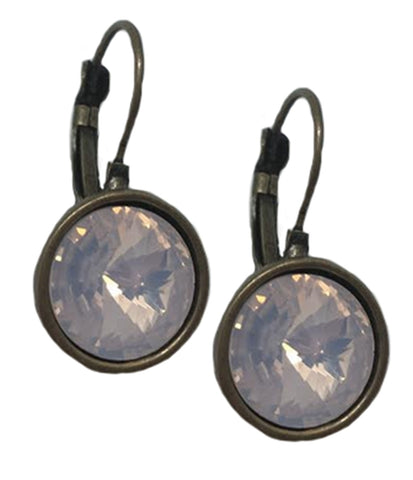 Round Antique Bronze Earrings with Pink Opal