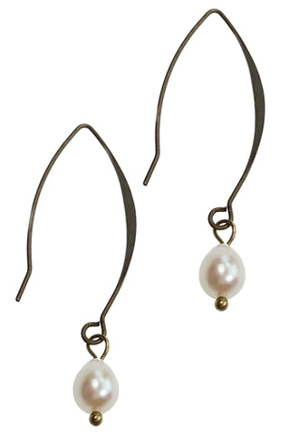 Antique Bronze Earring with Pearl Drop