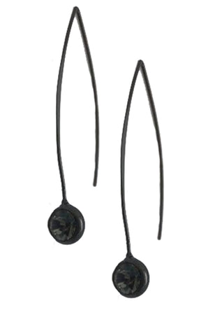Long Matte Gun Metal Earring with Black Diamond