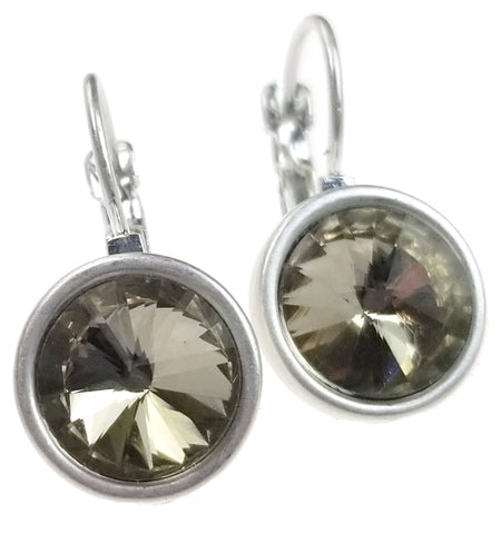 Round Burnished Silver with Topaz Earrings