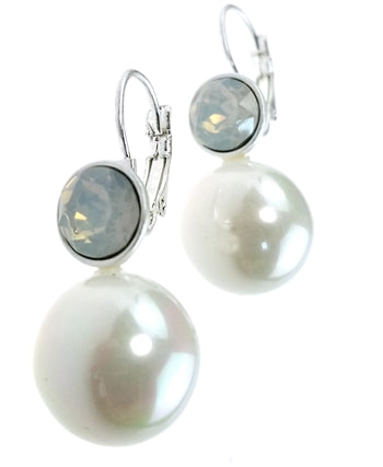 Silver Earrings with Pearl and Milky Opal