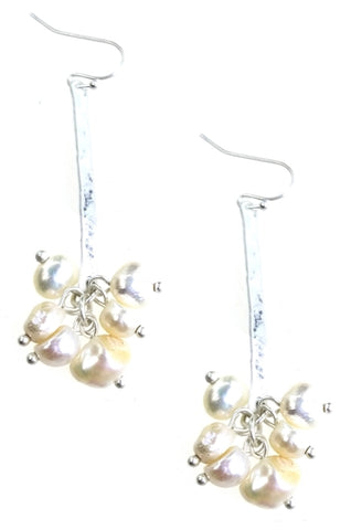 Burnished Silver Earrings with Freshwater Pearls