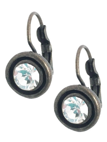 Round Antique Bronze Earrings with Clear Crystal