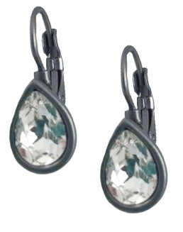 Matte Gunmetal Teardrop Earrings with Clear Crystal