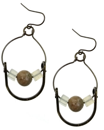 Antique Bronze Horseshoe Earrings