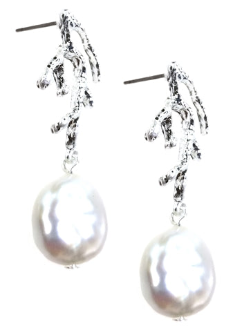 Silver Coral Earrings with Freshwater Pearl