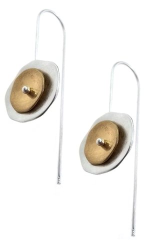 Silver Wire Earrings with Silver and Gold Circles
