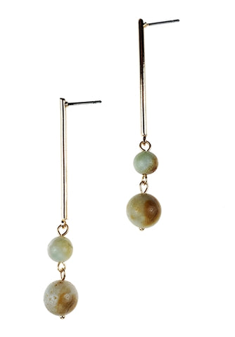 Long Gold Earrings with Natural Amazonite Gemstone Beads