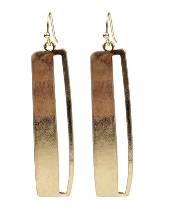 Rectangular Gold Earrings with Open Slit