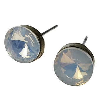 Antique Bronze Studs with Milky Opals