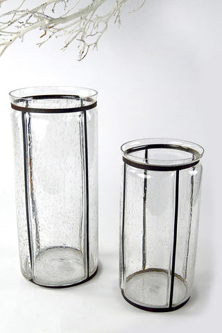 Handblown Seeded Glass And Rust Iron Hurricanes 1900 House And Home
