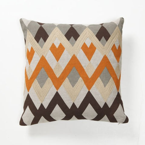 diamond orange and brown throw pillow