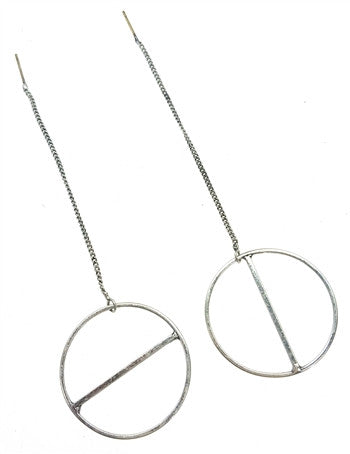 Long Silver Hoops with Chain