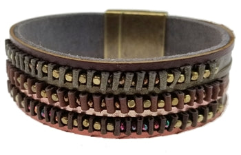 Metallic Leather Bracelet with Raised Beads