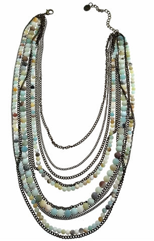 Multi Layer bronze Necklace with Amazonite Beads