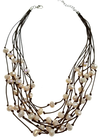 Brown Cord Necklace with Off White Faceted Beads