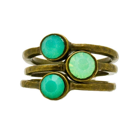 set of 3 stackable bronze and pacific opal rings