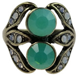 Antique Bronze Ring with Pacific and Milky Opals