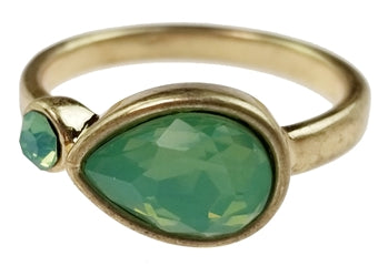 Burnished Gold Ring with Tear Shaped Pacific Opal