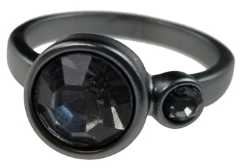 Matte Gunmetal Ring with 2 Black Crystals