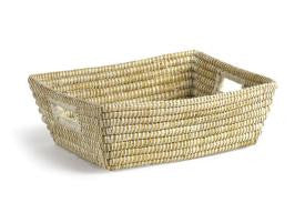 White Rectangular Basket with Handles