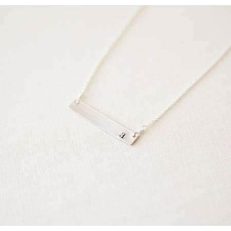 Silver Initial Bar Necklace