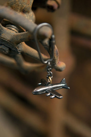 antique brass aeroplane key chain