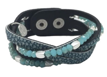 Woven Blue Leather Bracelet With Beads