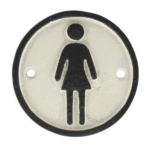 Cast Iron woman sign