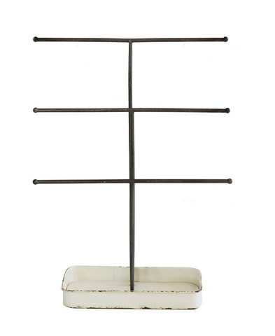 metal jewelry stand with 3 bars and tray
