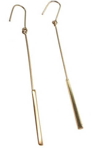 burnished gold long bar earrings