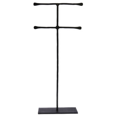 Tall Black Forged Iron Jewelry Stand