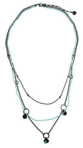 Antique Bronze Necklace with Turquoise Beads