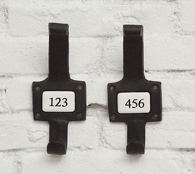 Numbered Ceramic and Metal Wall Hooks