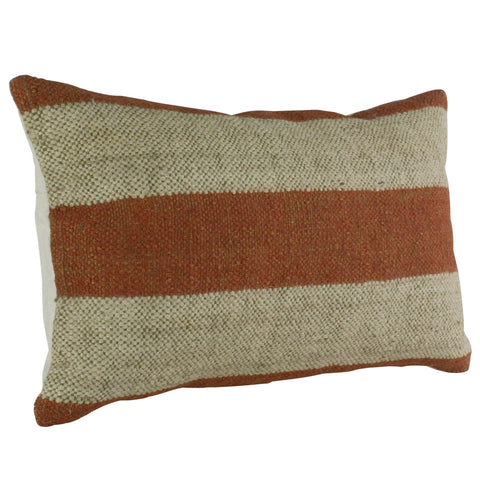 Orange and White Striped lumbar pillow wool jute