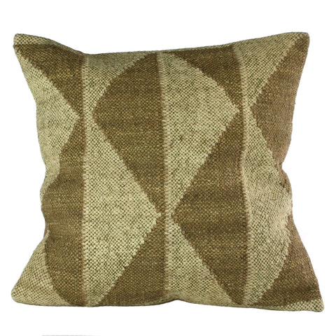 white and slate signal flag pillow, jute and wool